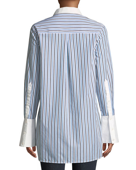 Arlette Button-Down Tuxedo Striped Shirt