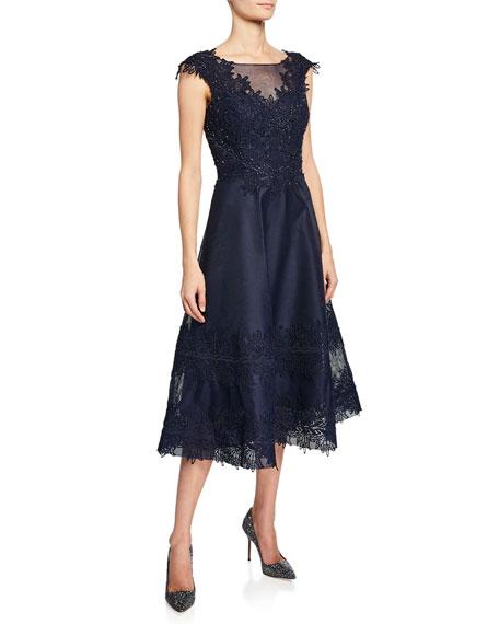 Beaded-Trim Mesh Lace Cocktail Dress