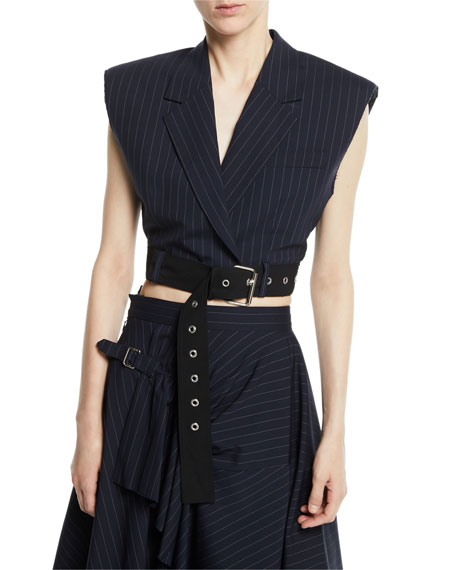 Cropped Pinstripe Vest with Sculpted Shoulders & Belt
