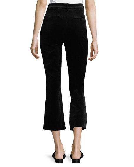 High-Waist Velvet O-Ring Zip Flare Pants