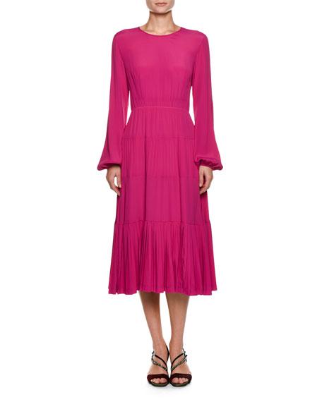 N°21 Long-Sleeve Pleated Midi Dress in Pink