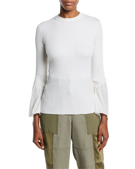 Crewneck Rib-Knit Pullover Sweater with Sheer Chiffon
