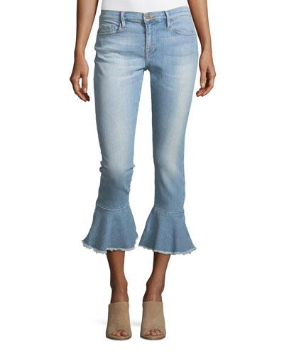 Le Skinny de Jeanne Mid-Rise  Ankle Jeans with Flounce-Hem