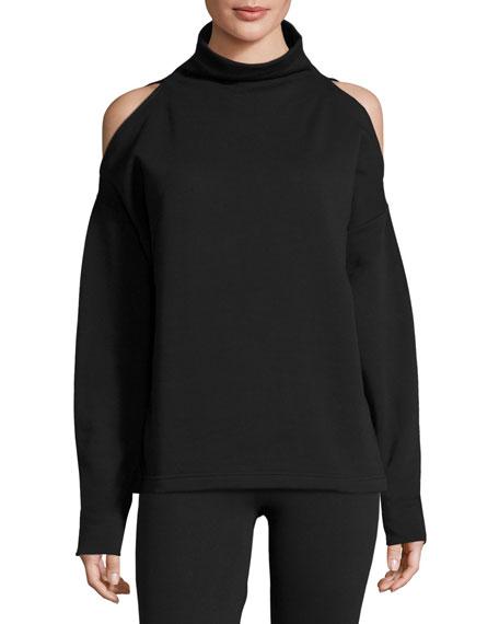 Keystone Cold-Shoulder Funnel-Neck Sweatshirt
