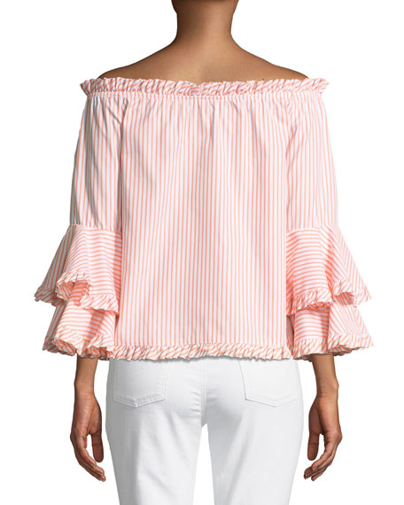 Tina Striped Off-the-Shoulder Tiered-Sleeve Top