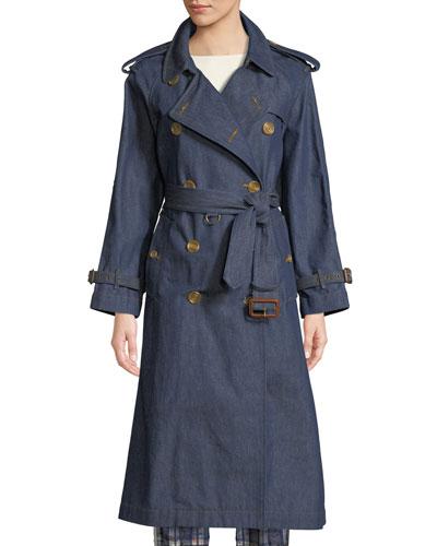 Denim Long Trench Coat