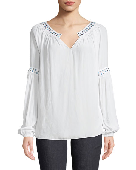 Wyatt Round-Neck Blouson-Sleeve Shirred Top with Studs