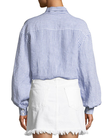 Handkerchief Striped Tie-Neck Linen Top