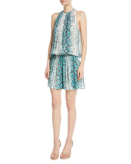 a7dbb85c39a3d3 Ramy Brook Paris Siena Sleeveless Snake-Print Silk Short Dress