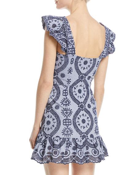 Alanis V-Neck Sleeveless Eyelet Mini Dress