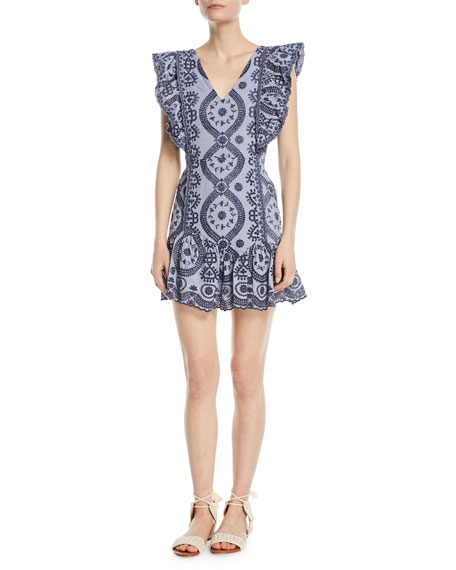 LOVESHACKFANCY Alanis V-Neck Sleeveless Eyelet Mini Dress in Navy