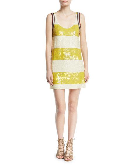Striped Sequin Shift Mini Dress
