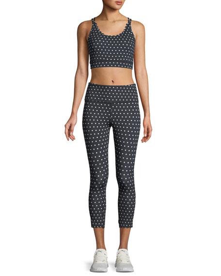 polka-dot scallop crop leggings
