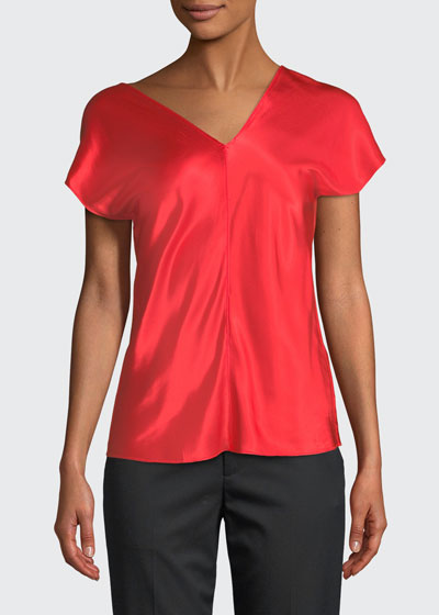 Asymmetric-Neck Cap-Sleeve Satin Top