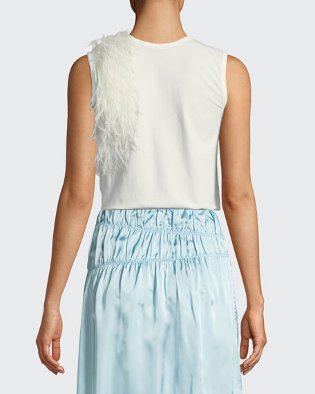 Crewneck Sleeveless Cotton Tank with Feathers