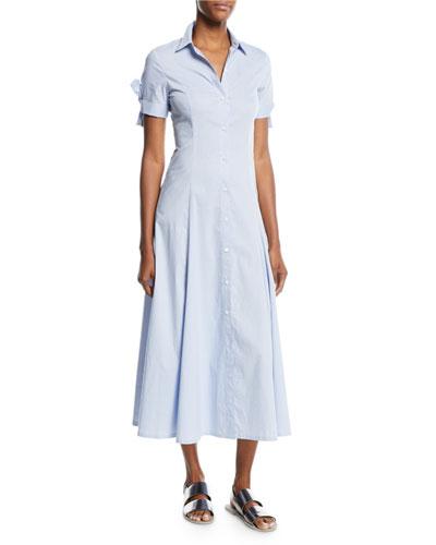 Birch-Stripe Tie-Sleeve Shirt Dress