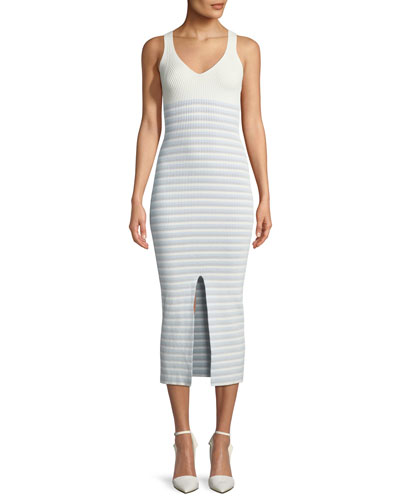 V-Neck Striped Rib-Knit Maxi Dress