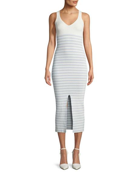 V-Neck Striped Rib-Knit Maxi Dress