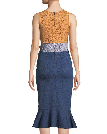 Lotus Multi-Pattern Tie Waist Dress