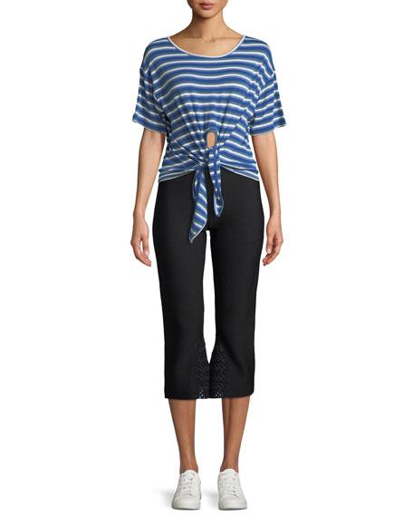 Striped Crochet Crop Knit Pull-On Pants