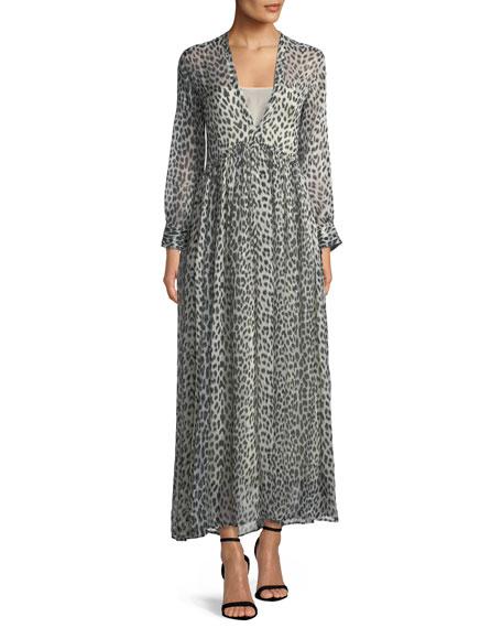 Savage Vanity Deep V-Neck Silk Maxi Dress