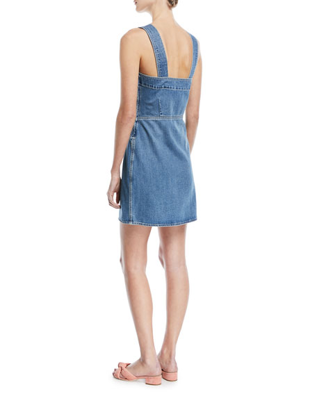 Tule Lace-Up Sleeveless Denim Dress