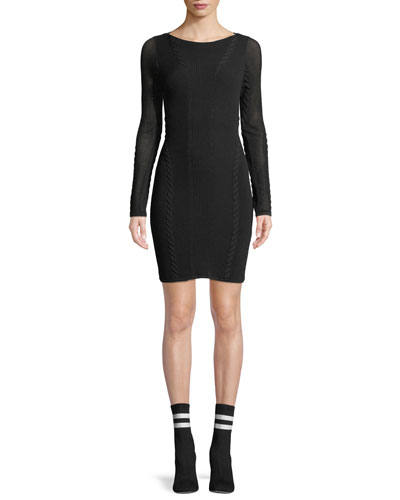 Brandy Long-Sleeve Mesh Paneled Mini Dress
