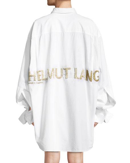 Shayne Oliver Beaded-Logo Button-Front Oversized Shirt