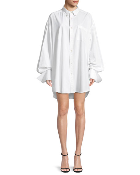 Shayne Oliver Beaded-Logo Button-Front Oversized Shirt