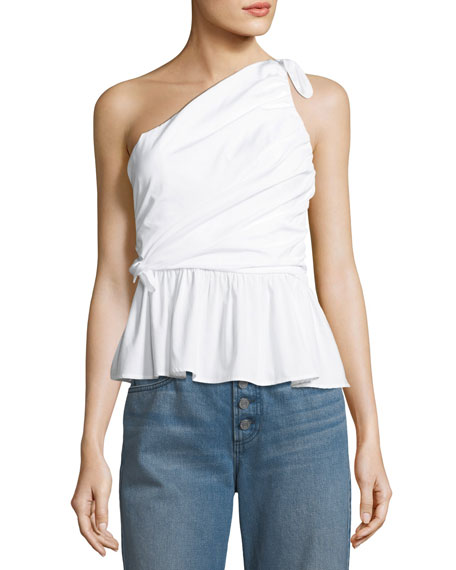 Soraya One-Shoulder Draped Cotton Top