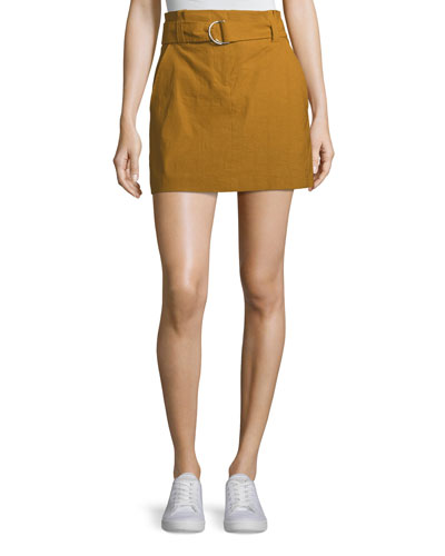 Bryce Belted Linen-Stretch Skirt