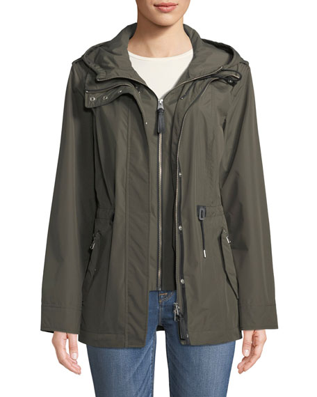 Meltiar Hooded Rain Jacket w/ Covered Placket