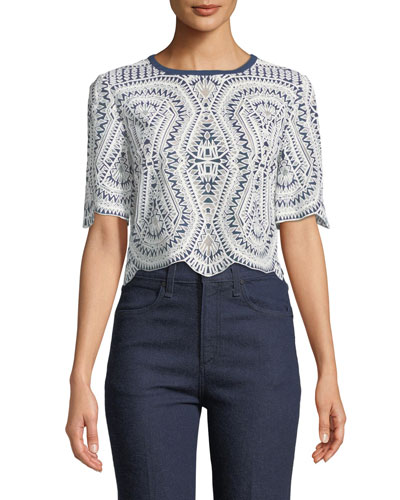 Anita Half-Sleeve Embroidered Top