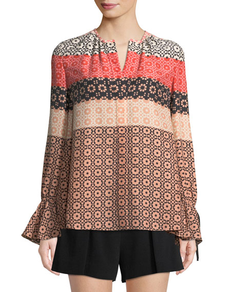 Smocked Long-Sleeve Silk Printed Blouse