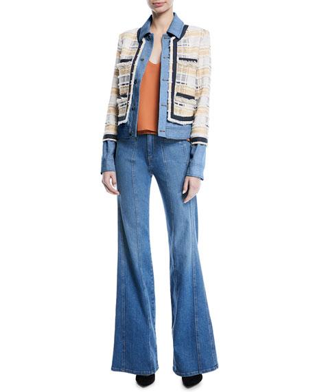 Santiago Button-Front Combo Tweed & Denim Jacket
