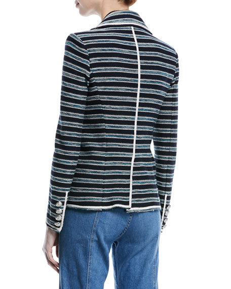 Carroll Portrait-Neck Striped Tweed Double-Breasted Jacket