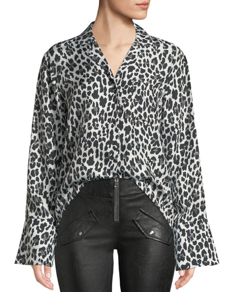 Yvonne Button-Down Leopard-Print Silk Blouse