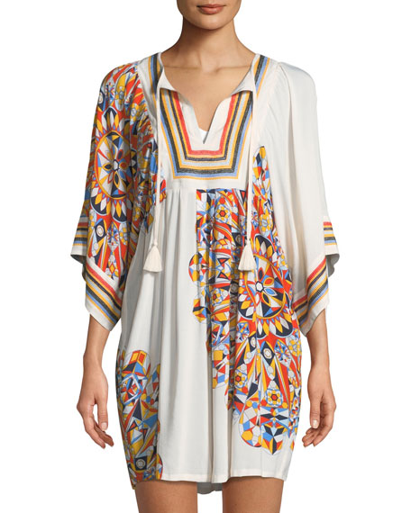 Psycho Geo Embroidered Coverup Tunic
