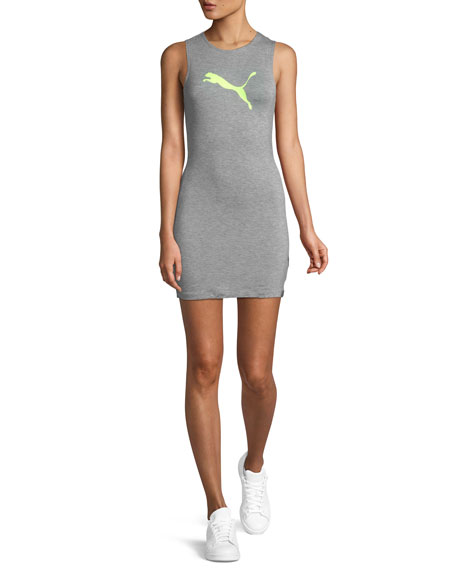 Image 1 of 1: Zip-Back Mini Jersey Tank Dress