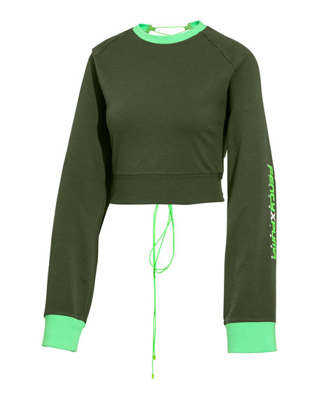 Image 1 of 1: Laced-Back Crewneck Crop Sweatshirt