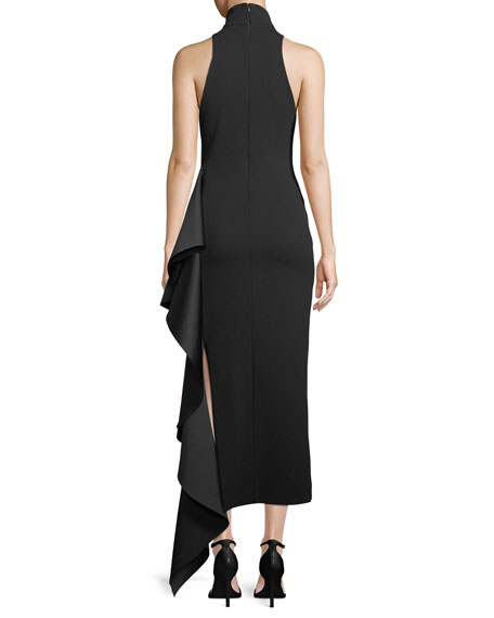 Lara Mock-Neck Sleeveless Crepe Cocktail Dress w/ Drape Detail