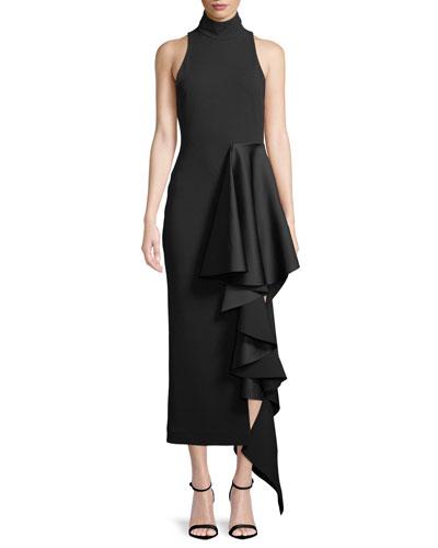 Lara Mock-Neck Sleeveless Crepe Cocktail Dress w/ Drape Detail