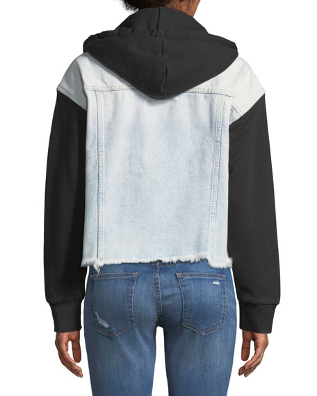 The Celyn Hooded Combo Denim Jacket