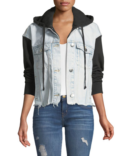 The Celyn Hooded Combo Denim Jacket