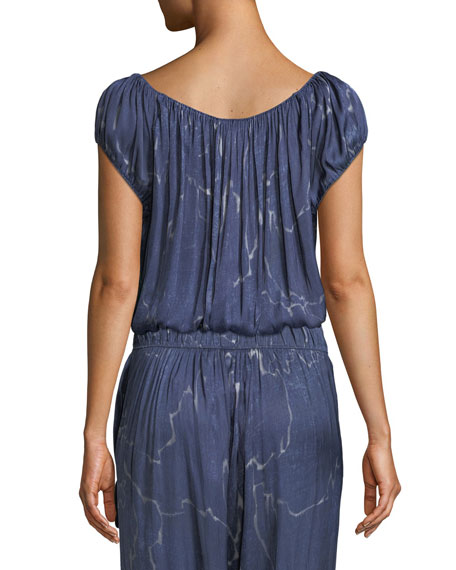Ruched-Neck Short-Sleeve Top