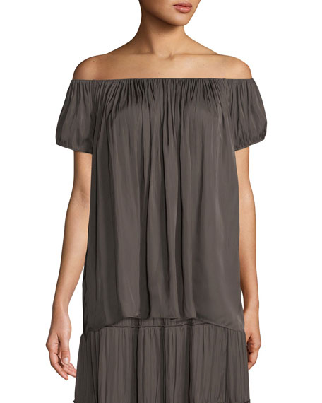 Cap-Sleeve Ruched-Neck Top