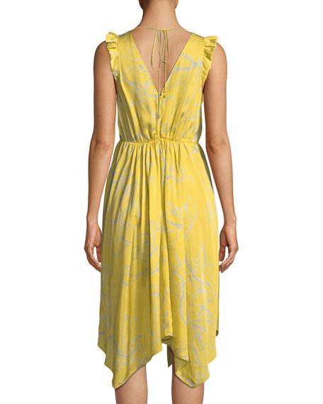 Ruffle-Trim V-Neck Floral-Print Dress