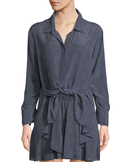RUCHED-SLEEVE DOT-PRINT TIE-FRONT SHIRT