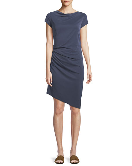 Image 1 of 1: Draped Boat-Neck Jersey Dress