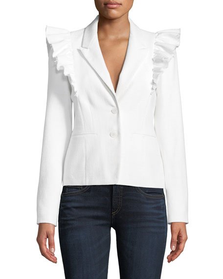Slub Suiting Ruffle-Shoulder Jacket